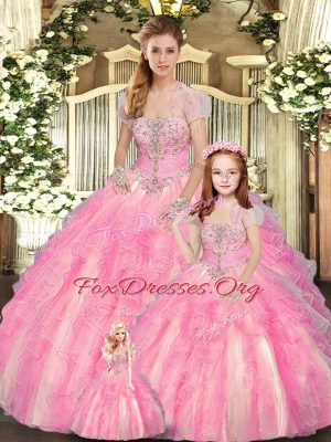 Charming Baby Pink Ball Gowns Beading and Ruffles Vestidos de Quinceanera Lace Up Tulle Sleeveless Floor Length