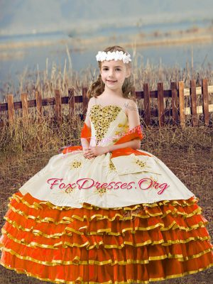 Sleeveless Lace Up Floor Length Beading and Embroidery and Ruffled Layers Little Girl Pageant Gowns