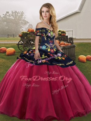 Sophisticated Ball Gowns Quince Ball Gowns Red And Black Off The Shoulder Tulle Sleeveless Floor Length Lace Up
