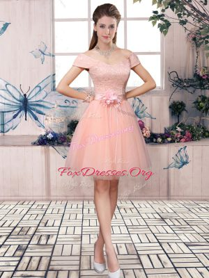Exceptional Off The Shoulder Short Sleeves Lace Up Club Wear Pink Tulle