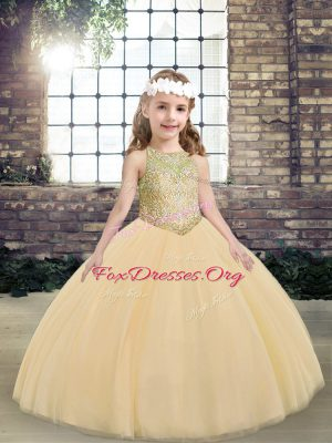 Peach Sleeveless Tulle Lace Up Little Girl Pageant Gowns for Party and Military Ball and Wedding Party