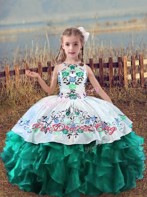 Organza Scoop Sleeveless Lace Up Embroidery and Ruffles Little Girls Pageant Gowns in Turquoise
