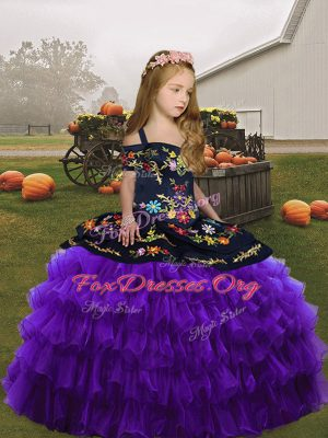Embroidery Little Girls Pageant Gowns Purple Sleeveless Floor Length