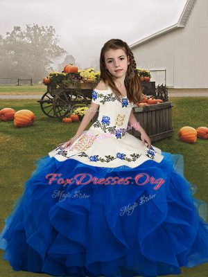 Organza Straps Sleeveless Lace Up Embroidery and Ruffles Kids Formal Wear in Blue