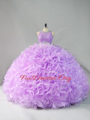 Affordable Lavender Ball Gowns Beading and Ruffles Sweet 16 Quinceanera Dress Zipper Organza Sleeveless Floor Length