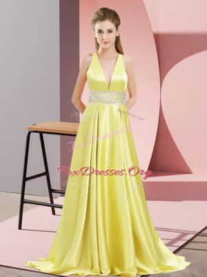 Clearance V-neck Sleeveless Prom Gown Brush Train Beading Yellow Elastic Woven Satin