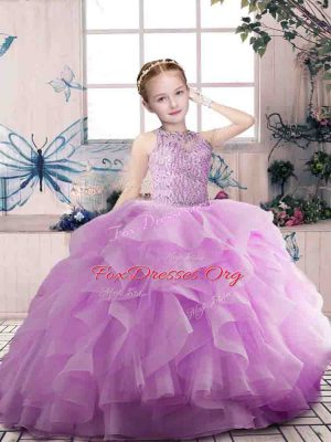 Custom Designed Floor Length Ball Gowns Sleeveless Lilac Pageant Gowns For Girls Zipper
