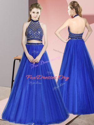 Sleeveless Beading Backless Evening Dress