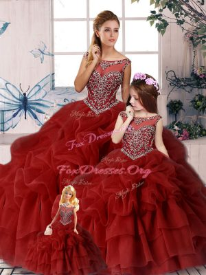 Wine Red Quince Ball Gowns Organza Brush Train Sleeveless Beading and Pick Ups