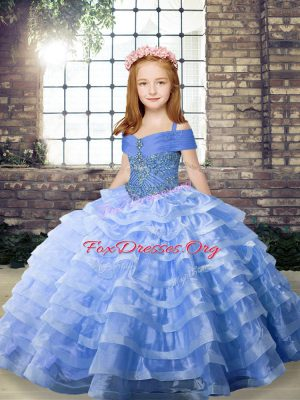 Blue Little Girl Pageant Dress Party and Wedding Party with Beading and Ruffled Layers Straps Sleeveless Brush Train Lace Up