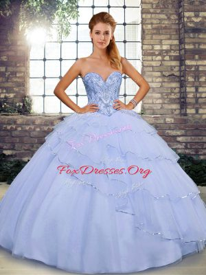 New Arrival Lace Up Quinceanera Gowns Lavender for Military Ball and Sweet 16 and Quinceanera with Beading and Ruffled Layers Brush Train