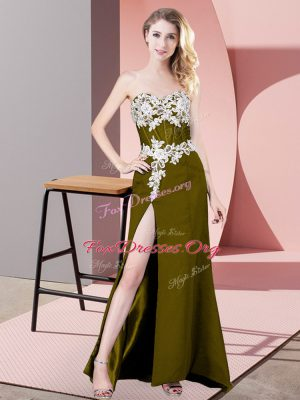 Fantastic Column/Sheath Prom Party Dress Olive Green Sweetheart Chiffon Sleeveless Floor Length Zipper