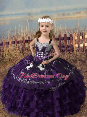 Classical Sleeveless Organza Floor Length Lace Up Child Pageant Dress in Purple with Embroidery and Ruffled Layers