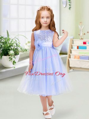 Best Lavender Scoop Zipper Sequins and Hand Made Flower Flower Girl Dresses for Less Sleeveless