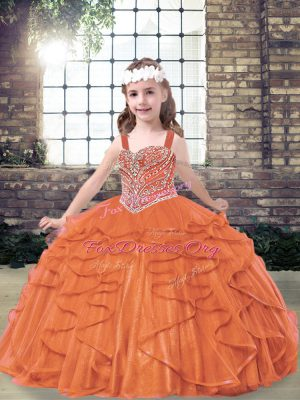 Orange Red Ball Gowns Beading and Ruffles Pageant Dress Lace Up Tulle Sleeveless Floor Length