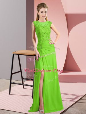 Comfortable Column/Sheath Beading Prom Evening Gown Lace Up Chiffon Sleeveless Floor Length