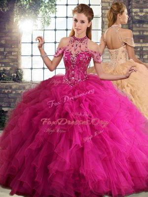 Colorful Halter Top Sleeveless Tulle Quinceanera Dresses Beading and Ruffles Lace Up