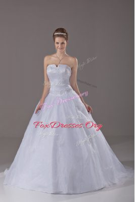 Glittering White Wedding Dress Brush Train Sleeveless Beading