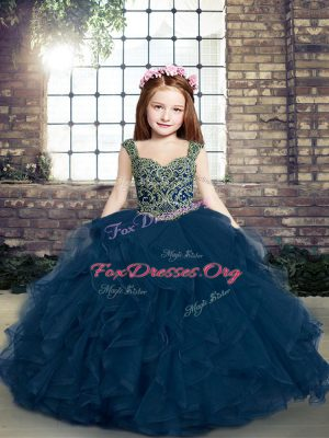 Ball Gowns Girls Pageant Dresses Blue Straps Tulle Sleeveless Lace Up