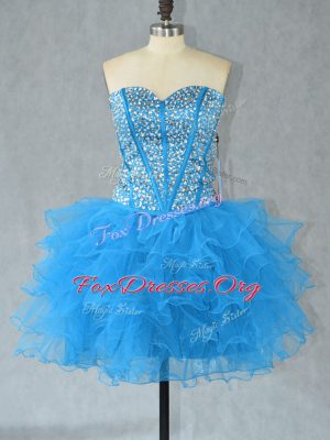 Best Beading and Ruffles Prom Evening Gown Aqua Blue Lace Up Sleeveless Mini Length