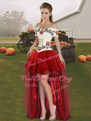 Shining High Low Wine Red Custom Made Pageant Dress Off The Shoulder Sleeveless Lace Up