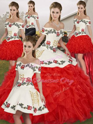 Amazing White And Red Sleeveless Embroidery and Ruffles Floor Length Vestidos de Quinceanera