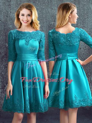 Trendy Half Sleeves Satin Knee Length Zipper Wedding Party Dress in Teal with Lace