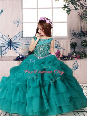Beautiful Scoop Sleeveless Organza Pageant Gowns For Girls Beading and Pick Ups Zipper
