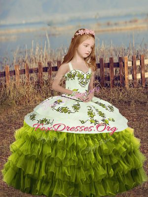 Floor Length Green Little Girl Pageant Dress Organza Sleeveless Embroidery and Ruffled Layers