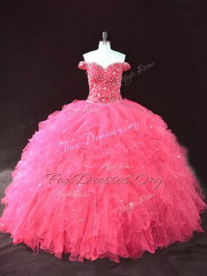 Unique Floor Length Lace Up Sweet 16 Dress Hot Pink for Sweet 16 and Quinceanera with Beading and Ruffles