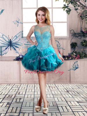 Beading and Ruffles Homecoming Dress Online Blue Lace Up Sleeveless Mini Length
