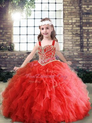Red Lace Up Straps Beading and Ruffles Kids Formal Wear Tulle Sleeveless