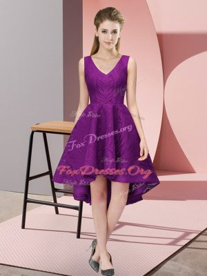Custom Made A-line Damas Dress Purple V-neck Lace Sleeveless High Low Zipper