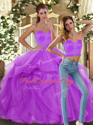 Most Popular Sleeveless Lace Up Floor Length Ruffles Quinceanera Dresses