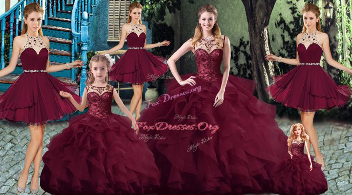 Burgundy Sleeveless Beading and Ruffles Lace Up Quinceanera Gown