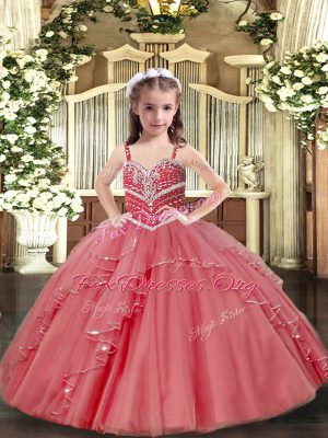 Top Selling Pink Straps Neckline Beading and Ruffles Little Girl Pageant Dress Sleeveless Lace Up