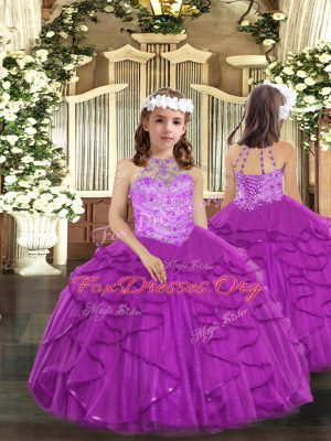Custom Designed Purple Ball Gowns Tulle Halter Top Sleeveless Beading and Ruffles Floor Length Lace Up Girls Pageant Dresses