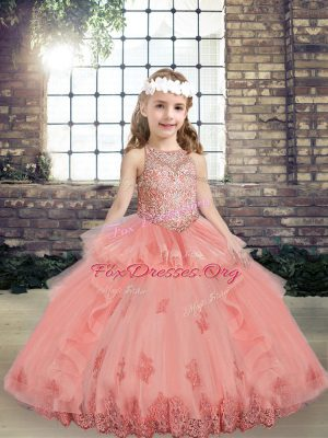 Adorable Sleeveless Beading and Appliques Lace Up Pageant Gowns For Girls