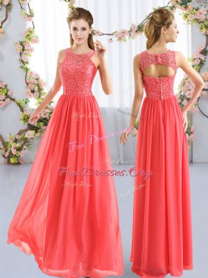 Dynamic Lace Wedding Party Dress Coral Red Zipper Sleeveless Floor Length