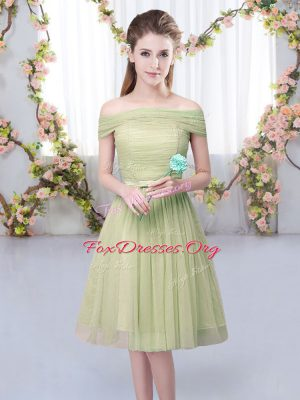 Dynamic Off The Shoulder Short Sleeves Lace Up Dama Dress Olive Green Tulle