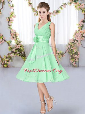 Great Apple Green Sleeveless Hand Made Flower Knee Length Dama Dress