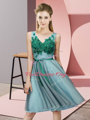 Sweet Appliques Damas Dress Aqua Blue Lace Up Sleeveless Knee Length