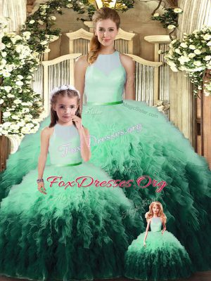 Popular Multi-color Ball Gowns Tulle High-neck Sleeveless Ruffles Floor Length Backless 15th Birthday Dress