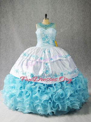 Baby Blue Lace Up Scoop Beading and Embroidery and Ruffles Quinceanera Gown Fabric With Rolling Flowers Sleeveless