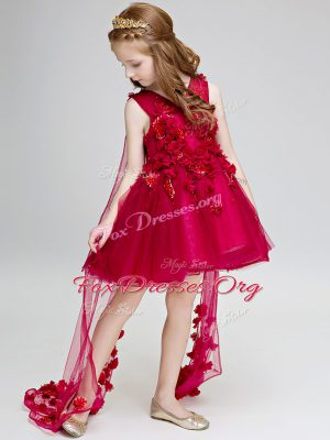 Hand Made Flower Toddler Flower Girl Dress Wine Red Lace Up Sleeveless Watteau Train