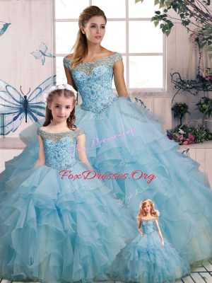 High End Light Blue Organza Lace Up Quinceanera Gown Sleeveless Floor Length Beading and Ruffles