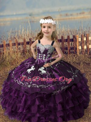 Stylish Dark Purple Pageant Dresses Wedding Party with Embroidery and Ruffled Layers Straps Sleeveless Lace Up