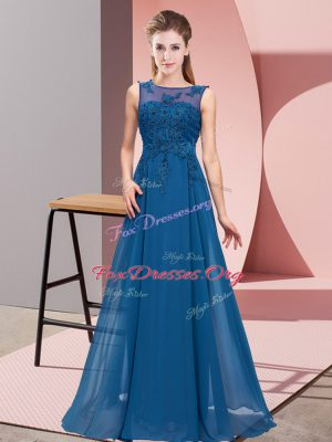 High End Blue Bridesmaid Dress Wedding Party with Beading and Appliques Scoop Sleeveless Zipper