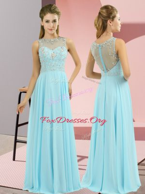 Most Popular Beading Dress for Prom Baby Blue Zipper Sleeveless Floor Length