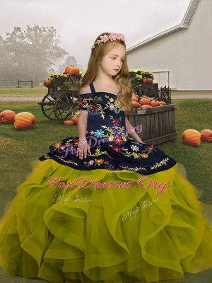 Charming Floor Length Ball Gowns Sleeveless Olive Green Little Girl Pageant Dress Lace Up